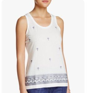 Tommy Bahama white grey palm embroidered top Small